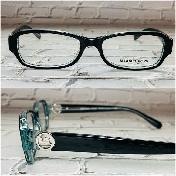 Michael Kors Rectangle Black Blue Eyeglasses NWOT